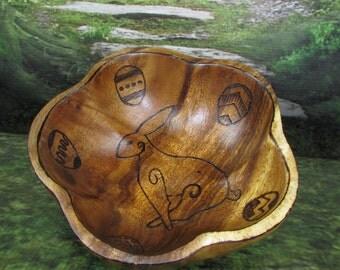 Norse Bowli, Blot Blessing Bowl with Ostara Hare & Eggs Design