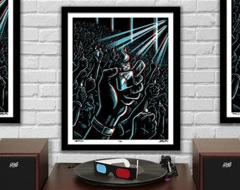 """ENCORE - Lighters Raised - 3D Concert Poster with red/blue Glasses - 16x20"""" - Signed Limited Edition Art Print"""