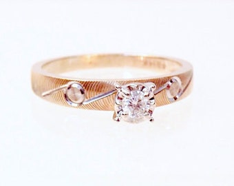 Sale! Vintage Diamond Solitaire 14K Two Tone Engagement Ring, Promise Ring, Yellow Gold, White gold