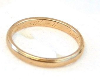 Art Nouveau 14K Yellow Gold Wedding Band, Antique, Circa 1919, Stacking Ring