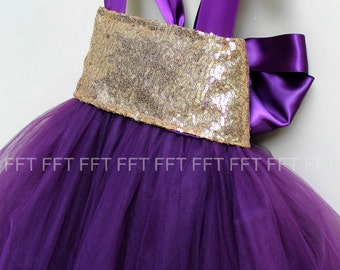 Gold Plum Eggplant Sequin Flower Girl Tutu Dress