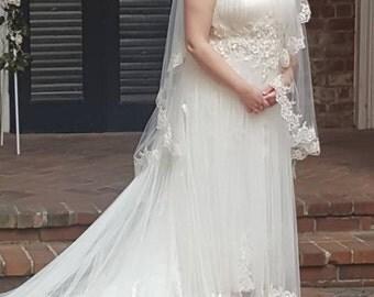 Two Tier Lace Wedding Veil, Lace Bridal Veil with Blusher, Alencon Lace Drop Veil, Ivory Fingertip Veil, Waltz Veil, Lace Fingertip Veil