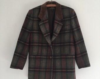 Vintage 90's Express Plaid Blazer / Suede Collar Wool Jacket XS S