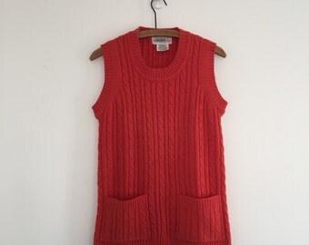 Vintage 70's Pumpkin Cable Knit Tunic Vest S