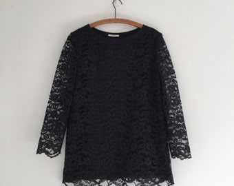 Vintage 90's Black Lace Tunic Blouse L