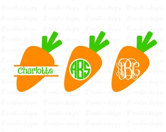 Carrot SVG, Easter Svg, Carrot Monogram SVG, Carrot Split Monogram, Silhouette Cut Files, Cricut Cut Files, Svg Files