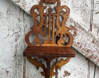 Wooden Wall Shelf handmade vintage shelf with harp design