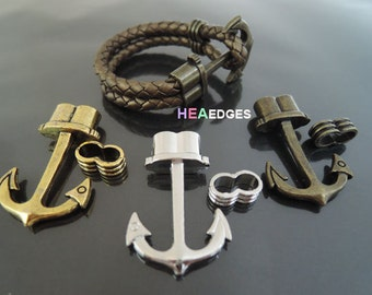 1 Set Anchor Clasp - Finding Anchor Hook Toggle Clasp Clousure Fastener with Eye Lock for 5mm Leather Cord