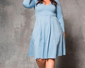 Plus size light blue midi winter dress - midi curvy dress - plus size long sleeves dress in light blue-  long sleeves midi dress