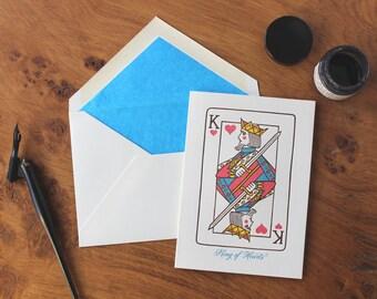 King of Hearts Letterpress Greetings Card