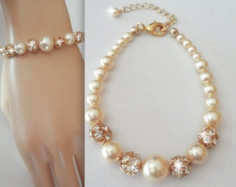 Gold pearl bracelet ~ Swarovski Pearls and crystal fireballs  - Bridal Jewelry - Bridesmaids gift - Wedding jewelry - Classic~ISABELLA