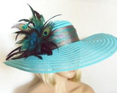 Feathered Turquoise Hat - Black and Turquoise Hat - Peacock Feathers - Kentucky Derby Hat, Garden Party Hat or Victorian Tea Party