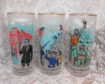 3 Colorado Centennial Glasses Rush to the Rockies 1959  Mint Condition