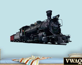 Vintage Train Wall Decal - Steam Train Stickers, Locomotive Wall Decor PAS14
