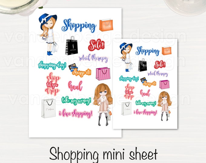 Shopping Planner Sticker Sheet- 15 count -Perfect for all planners!