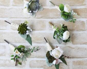 Set of 6 Buttonhole, boutonniere, succulent & white flower mismatched set of buttonholes, boutonnieres. Silk flower buttonhole, boutonniere.