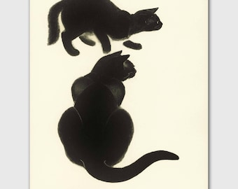 "Cat Decor (Cat Office, Vintage Black Cat Art) Clare Turlay Newberry --- ""Hide and Seek"""