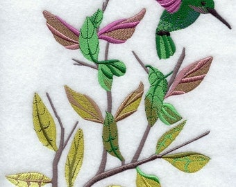 Hummingbird Dance Embroidered on Kona Cotton Quilt Block // Plain Weave Cotton Dish Towel // Also Available on Other Items