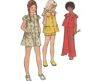 Cute Smock Dress, Top or Tunic with Shorts or Flared Pants Butterick 3059 Size 6 Breast 25 Vintage 1970s Childrens Sewing Pattern