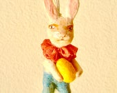 Spun cotton feather tree bunny with Easter egg ornament a OOAK vintage craft by jejeMae