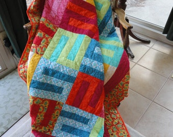 Hand Quilted Colorful Bright and Beautiful 72x82 Quilt by Karrirose