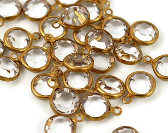 9mm Czech Preciosa Crystal Channel Set Charm - 1 Loop - Raw Brass Setting - 8 Charms