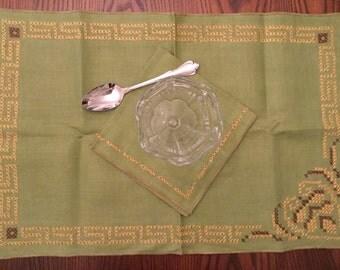 Olive Green Linen Placemats U0026 Napkins Vintage Table Linen Set Autumn Colors  Ochre, Chocolate Brown