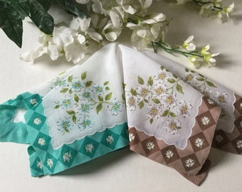 2  Vintage Printed Handkerchiefs Floral Hankies Scalloped Edge Applied Folded Fabric Aqua and Brown Boarder Hanky