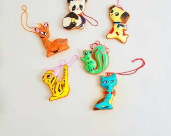Animal Ornaments Bright and Colorful Fabric Covered