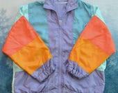 Vintage 80s RAINBOW Pastel Striped Windbreaker Purple Blue Orange Plus Size
