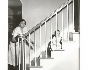 """Vintage Snapshot """"Trapped!"""" Baby On The Staircase Found Vernacular Photo"""