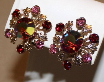 Stunning Vintage Pink Rhinestone and Red Aurora Borealis Earrings, AB