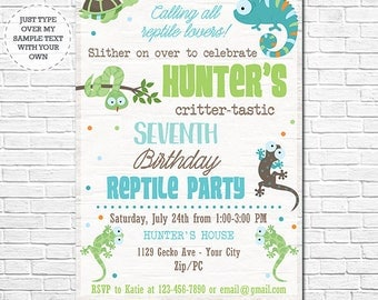Reptile Birthday Invitation - Reptile Invitation - Reptile Birthday Party - Instantly Download and Personalize in Adobe Reader at home