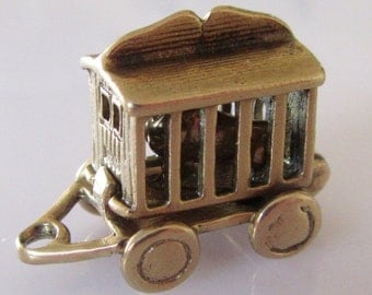 Large CHIM 9ct Gold Lion in a Cage Charm Opens