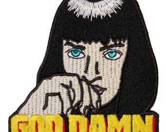 Mia Wallace Iron On Patch Embroidery Sewing DIY Customise Denim Uma Thurman Pulp Fiction Inspired '90s God Damn Stoner