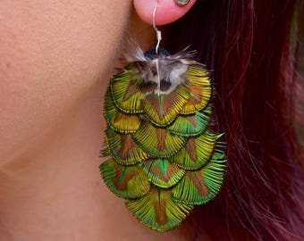 PEACOCK SCALE Feather Earrings