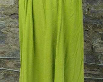 lime green vintage CORDUROY MIDI SKIRT with pockets 1950's 50's S