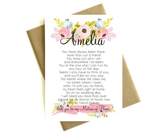 Personalized Matron of Honor Card Poem 'Will You Be My Matron of Honor' - Greeting Card, Floral Card, Bridal Party, Poem