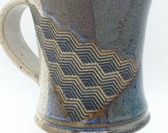 Wheel-Thrown Stoneware  Pottery Mug on Pedestal