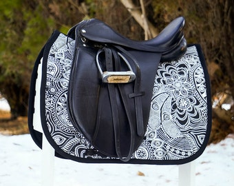 MADE TO ORDER - Black and White Flowers Saddle Pad