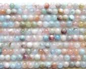6mm Morganite Beads - Natural Morganite Polished Round Semi-Precious Beads, Half Strand (IND2C45)