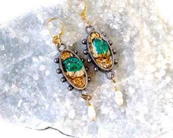 Statement Earrings- Dioptase with Seed Pearls-Gold Leaf -Raw Minerals- Dangling Earrings