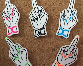 Colorful Middle Finger Pin