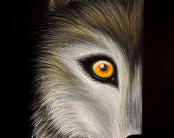 ORIGINAL PAINTING Fantasy Lowbrow Big Eye Wolf Dog Canine Cute Animal Whimsical Wildlife Pop Surrealism Acrylic Art Natalie VonRaven