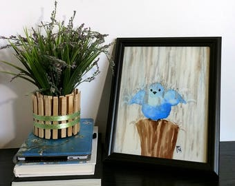 Bird Art Print - Blue Bird - Blue Nursery - Rainy Day - Childrens Room - Baby's Room - Happy Bird - Home Decor - Watercolor - Splashing Rain