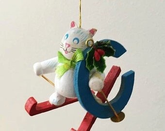 """Cat Ornament / Skiing Cat Ornament """"C"""" is for Cat / Vintage Wooden Ornament / White Cat / Stocking Stuffer"""
