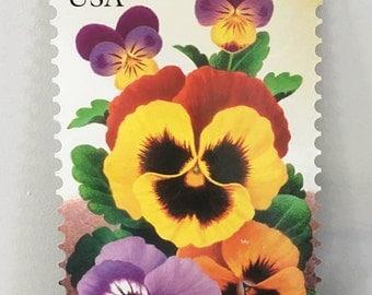 Pansy US Postal Stamp Poster / Cardboard Flower 32 cent Stamp Sign