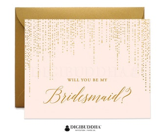 Will You Be My Bridesmaid Card, Bridesmaid Cards, Maid of Honor Ask Bridesmaid Pink & Gold Flower Girl Card Gold Shimmer Envelope WC0005