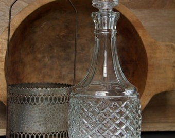 Vintage Cut Glass Decanter in Silver Plated Carrier