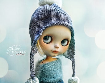 FRUIT CANDY Blueberry Ooak Pom Pom HELMET For Blythe By Odd Princess Atelier, Hand Knitted, 2017 Collection